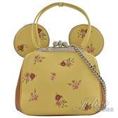 茱麗葉精品 全新精品 COACH 29351 限量款disney花朵米奇耳朵手提兩用鍊包.黃