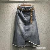 春秋2019新款韓版A字中長款開叉牛仔裙女大碼包臀半身裙『艾麗花園』