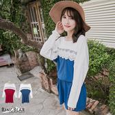 質感蕾絲--浪漫女人蕾絲滾邊配色鬆緊腰頭長上衣/洋裝(紅.藍2L-5L)-A21眼圈熊中大尺碼