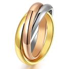 《 QBOX 》FASHION 飾品【R100N005】精緻個性三生三世彩金L鈦鋼戒指/戒環