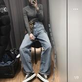 2020新款 褲滿屏都是大長腿U設計師合作高腰寬腿直筒牛仔褲