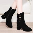 中筒靴 秋季新款時裝靴女鞋短筒粗跟尖頭馬丁鞋中跟黑色中筒彩色大東 生活主義
