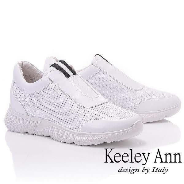 ★2019春夏★Keeley Ann我的日常生活 全真皮簡約素面休閒鞋(白色) -Ann系列