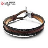 [Z-MO鈦鋼屋]優質牛皮手環/編織穿繩設計/經典復古造型/中性男孩皮環推薦單件價【CKL909】