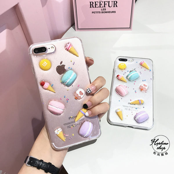 【萌萌噠】iPhone 7  (4.7吋) 原創可愛女款 閃粉馬卡龍冰淇淋保護殼 透明滴膠 全包矽膠軟殼 手機殼
