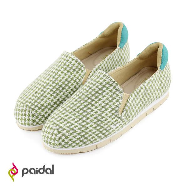Paidal千鳥格紋百搭加厚底休閒鞋樂福鞋懶人鞋-草綠