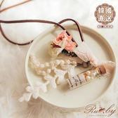 項鍊 韓國直送許願瓶蝴蝶結花朵皮繩長項鍊-Ruby s 露比午茶