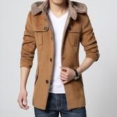 風衣外套-毛呢純色單排扣連帽可拆卸男大衣3色73tz2【巴黎精品】