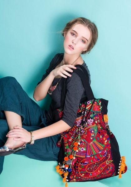 熱銷歐美 高級藤編包 民族風包包 手工刺繡包 學生書包 男女 電腦包 手提肩背包 旅行 斜背包