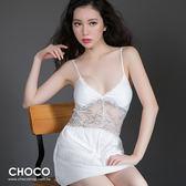 迷漾美人‧典雅緞面抽縐性感連身睡衣(白色) M~XL Choco Shop