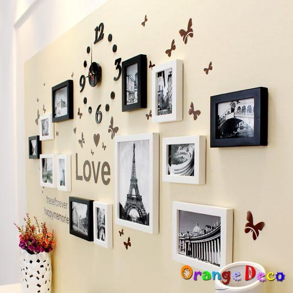 壁貼【橘果設計】進口實木相框牆 藍丁膠不傷牆設計 創意照片牆 相框組合壁貼 壁紙