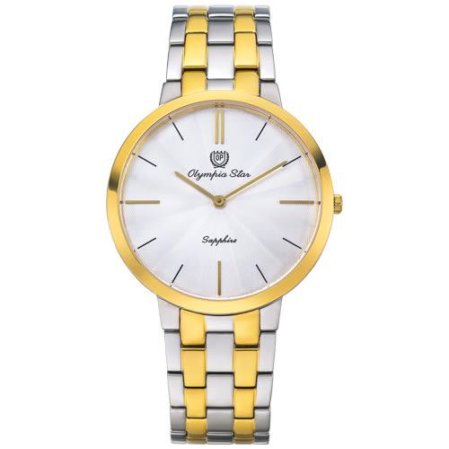 Olympia Star奧林比亞之星 時尚水波紋腕錶-雙色(白)/40mm
