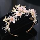 頭飾 新款新娘頭飾粉色頭花朵森系發箍韓式超仙美發飾品結婚紗禮服配飾