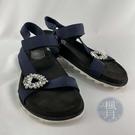 BRAND楓月 ROGER VIVIER RV 黑色 深藍色織帶 水鑽裝飾 魔鬼氈 涼鞋 拖鞋 沙灘鞋 #39