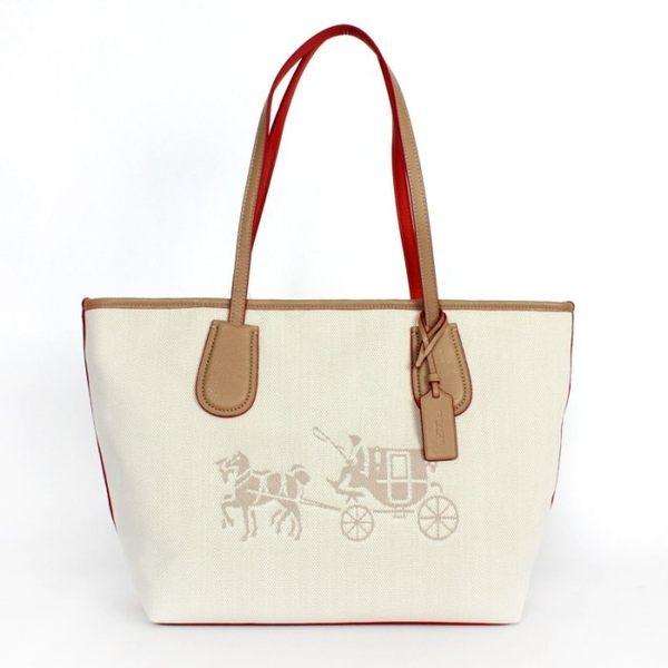 米菲客 COACH 35337 經典馬車logo織布皮革材質托特包 手提/肩背包 (白)