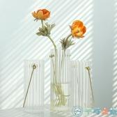 北歐花瓶擺件簡約插花器桌面裝飾手提透明玻璃【千尋之旅】