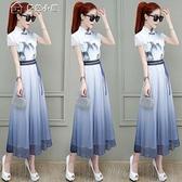 休閒洋裝中國風氣質連身裙女新款夏裝旗袍改良收腰顯瘦裙子長裙顯高 快速出貨
