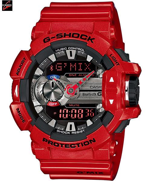 CASIO G-SHOCK 卡西歐 焰紅GBA-400-4A藍牙手機連線 控音樂界時間 碼錶 GBA-400-4ADR