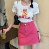 純色半身裙夏季高腰包臀裙學生復古短裙子新款2020韓版女裝a字裙 全館免運 快速出貨