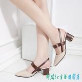 復古包頭涼鞋女夏2020新款韓版百搭時尚中跟尖頭粗跟一字扣仙女鞋 EY10324『科炫3C』