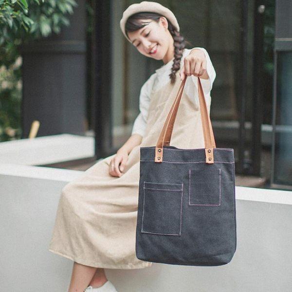 帆布袋 包 帆布包女單肩學生韓版原宿文藝小清新手提袋環保購物布袋