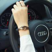手錶女學生韓國簡約時尚潮流女士手錶防水鎢鋼色石英女表腕表 流行花園