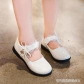 女童皮鞋白色公主鞋2019秋季新款小女孩單鞋軟底防滑演出舞蹈瓢鞋    Cocoa