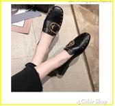 單鞋女秋款百搭一腳蹬新款氣質平底鉚釘淺口豆豆小皮鞋女春秋 color shop
