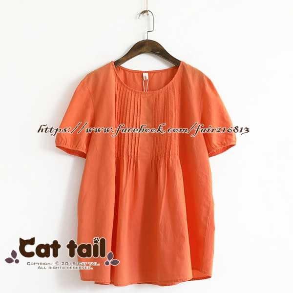 《貓尾巴》LZ-02280 文藝圓領純色短袖上衣(森林系 日系 棉麻 文青 清新)