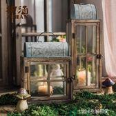 燭燈 【掬涵】木燈籠 玻璃風燈 燭台裝飾藝術擺件花園庭院復古懷舊鐵藝 1995生活雜貨