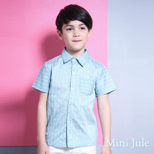 Mini Jule 男童 上衣 滿版直條紋單口袋短袖襯衫(藍)