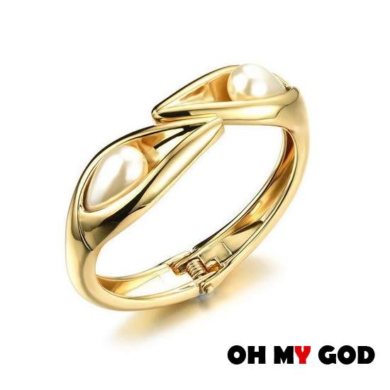 OH MY GOD百搭珍珠銅鍍金手環
