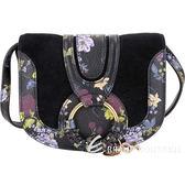 SEE BY CHLOE HANA 迷你款 編織金屬圈印花麂皮肩背包(黑色) 1840371-01