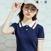 短袖polo衫女夏t恤運動針織衫