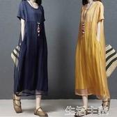 大碼洋裝 夏裝新款棉麻洋裝女寬鬆時尚大碼拼接顯瘦短袖正韓亞麻中長裙子 生活主義