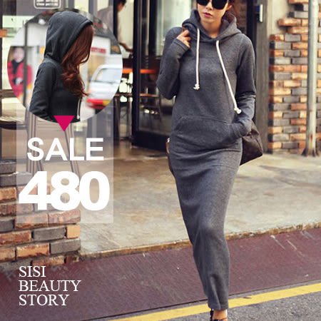 SISI【D6009】休閒個性韓版連帽內刷毛修身顯瘦包臀長裙洋裝棉質純色連身裙