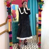 洋裝韓國chic洋氣宮廷風圓領拼接花邊點綴小波點繫帶收腰絲絨洋裝女 蜜拉貝爾