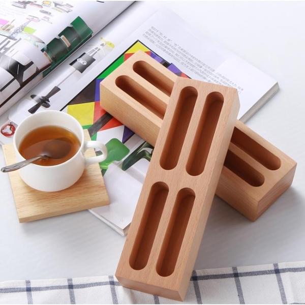 實木創意時尚四格名片盒高檔商務辦公桌面收納盒進店卡片盒 【免運】