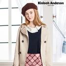 【Kinloch Anderson金安德森】甜美印花假兩件不對稱領上衣(粉紅/藏青) KA0773005