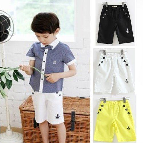 短褲 男童紳士純棉船錨鈕釦造型五分褲 S55002