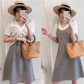 套裝上衣連身裙中大尺碼XL-5XL新款大碼新款格顯瘦連身裙 白色修身上衣兩件套R037-9577.一號公館