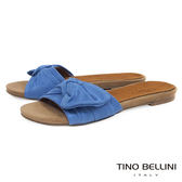 Tino Bellini 浪漫扭結平底涼拖鞋 _藍 B73259  2017SS