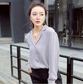 軒騰2018新款女裝春裝襯衣女長袖寬鬆韓版雪紡白襯衫v領打底上衣『潮流世家』