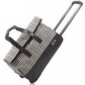 旅行行李袋-拼接PU皮革防水格紋手提拉桿包2款73b6[時尚巴黎]