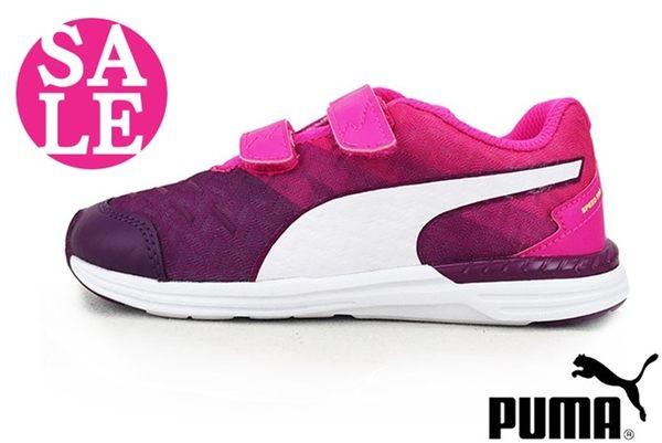 PUMA SPEED 300 小童運動鞋 漸層 輕量 魔鬼氈 超透氣慢跑鞋 零碼出清 I9526#桃紅◆OSOME奧森童鞋