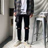 膝蓋破洞牛仔褲 韓版黑色牛仔長褲 歐美潮牌帥氣個性小腳褲 男小直筒長褲窄管褲/澤米