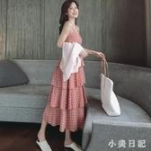 2020夏季新款性感v領高腰小清新連身裙女夏蛋糕長裙子 PA17752『小美日記』
