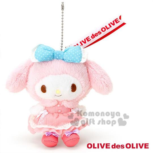 〔小禮堂〕美樂蒂 X OLIVE des OLIVE 絨毛娃娃吊飾《粉.藍點蝴蝶結.站姿.穿洋裝》 4901610-53398