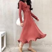 長袖溫柔風連衣裙女春秋新款氣質收腰顯瘦赫本針織打底長裙內搭冬