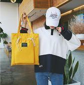 帆布包 韓版帆布包女單肩手提包小清新簡約百搭女士包包文藝森女系購物袋 歐美韓
